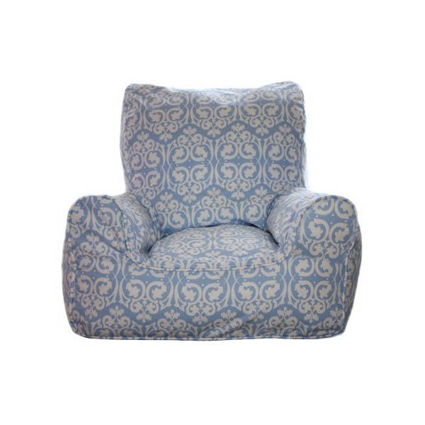 Lelbys-Kids Bean Bags-Bean Chair {Damask Blue}  $109.00 #limetreekids #toys #kids #play #lounge #beanbag