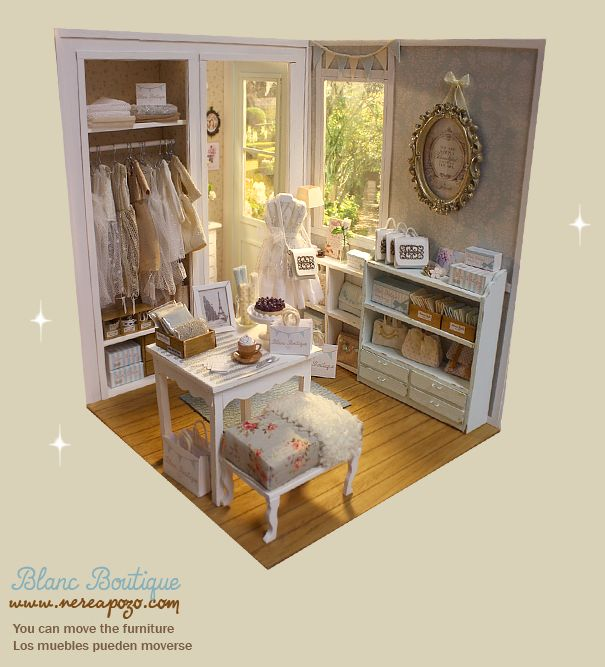 "Miniature Children S Bedroom Room Box Diorama: DIORAMA ""BLANC BOUTIQUE Shop "" Dollhouse Miniature"