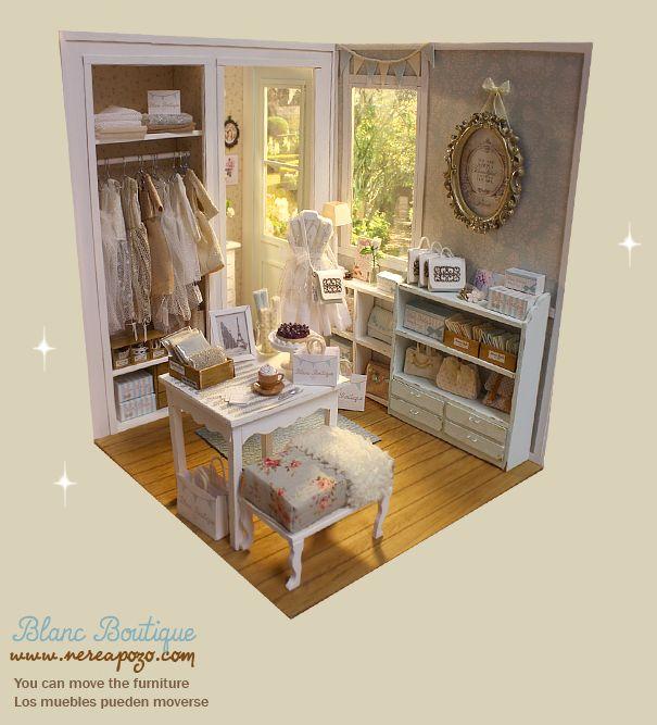 "DIORAMA ""BLANC BOUTIQUE Shop "" Dollhouse Miniature - 1:6 scale - OMG!!!!  This is soooooo adorable!  I little DRESS SHOP for Dolls!!!"