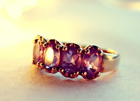 Vermeil ring with 5 ametyster ~  vintage <3