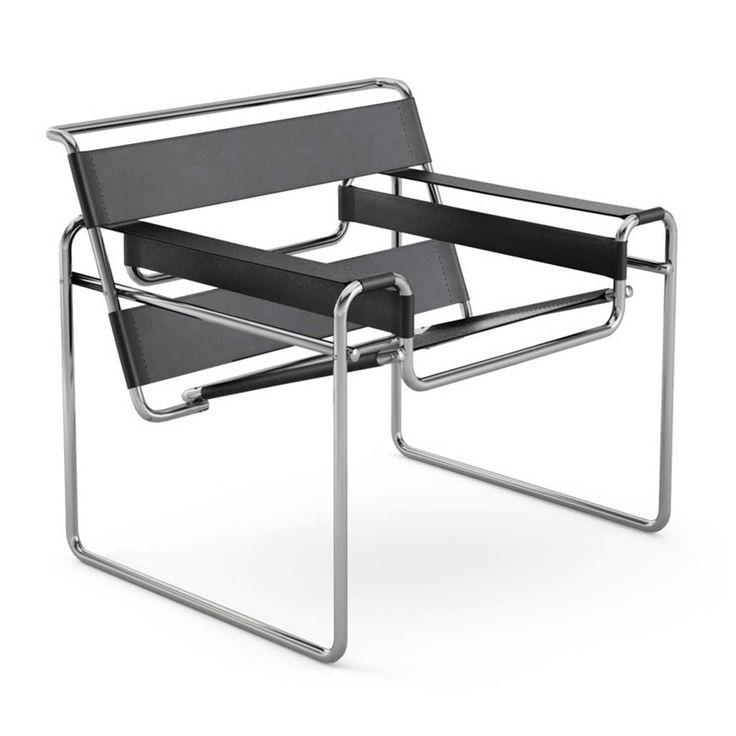 Knoll   Wassily Chair   Ontworpen door Marcel Breuer (1925)   Bestaande uit gebogen metaal (gepolijst chroom als finish) Zitting van Belting Leather van Spinneybeck   Kleuren zwart, wit en bruin   69x79x73cm    Prijs €2.286,00