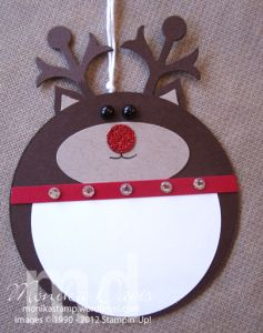 Rudolph the Reindeer Holiday Tags by Monika Davis Stampin' Up! - with a tutorial