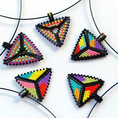 Triangulation . Peyote Pendant on Wire Choker . by time2cre8 on OpenSky >> These are great fun to make and to wear!  :-)