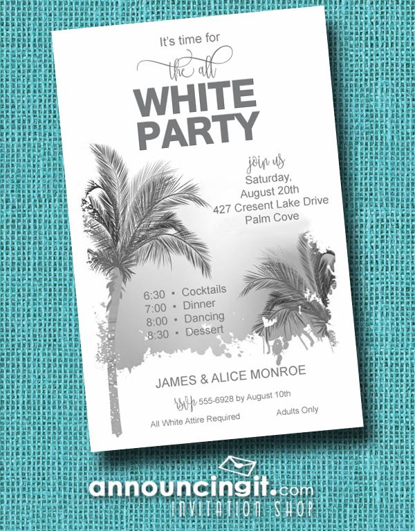 Palm tree silhouettes are featured on the Palm Tree All White Summer Party Invitations. A great way to get the gang together for tons of summer fun that requires all guests to dress in all white attire. Perfect for all white birthday party invitations, all white summer party invitations and more. See all our invitations at Announcingit.com