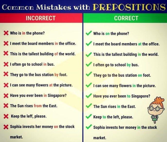 Erros Comuns Com Preposicoes Com Imagens Aprender Ingles