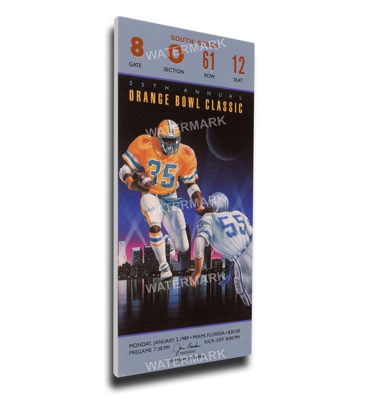 Miami Hurricanes Wall Art - 1989 Orange Bowl Canvas Mega Ticket
