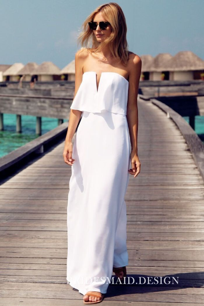 This bridal engagement dress was created in soft white chiffon with V-cut  strapless straight neckline 3dea2f3f0