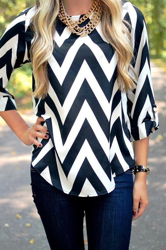 MODE THE WORLD: Navy & White Chevron Blouse