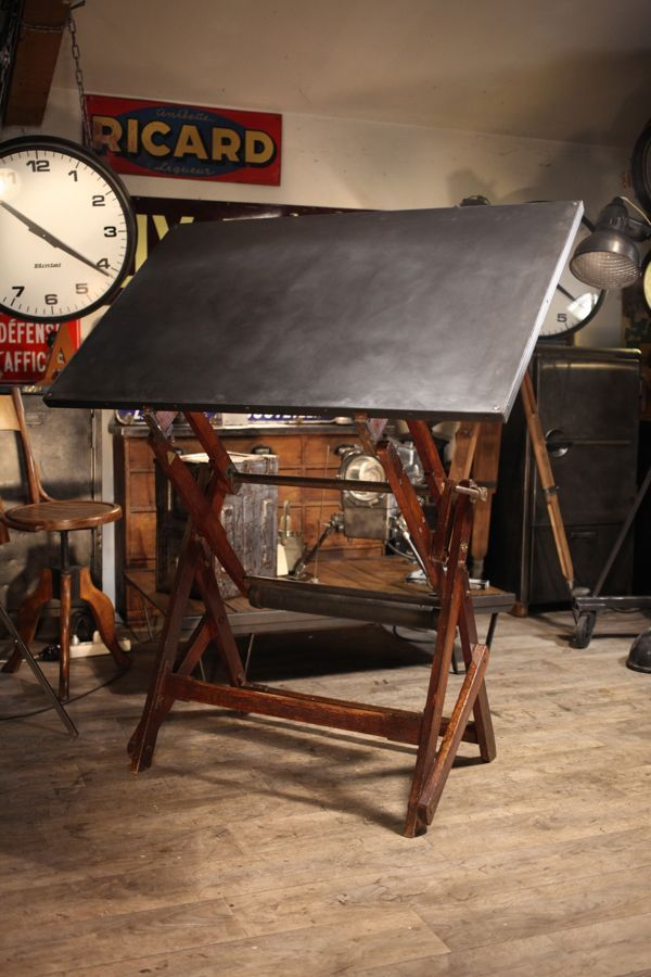 Table a dessin ancienne en chene massif drafting tables - Table a dessin architecte ...