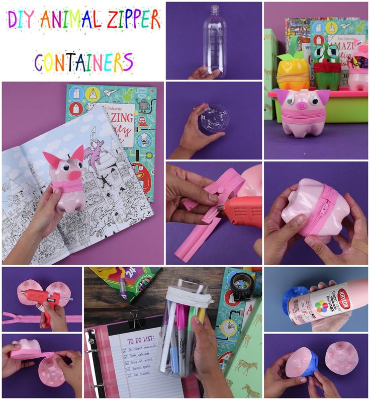 Cute zipper containers made with plastic bottles! Perfect diy to make with the kids for arts, crafts, and organization!   #diy #babyfirst #kids #parenthood #craft #art #crafty #hack #container #zipper #animals