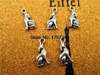 20 шт. -- вой волка подвески, Античная тибетского серебра тон 3D вой волка шарм подвески 21 x 10 x 3 мм