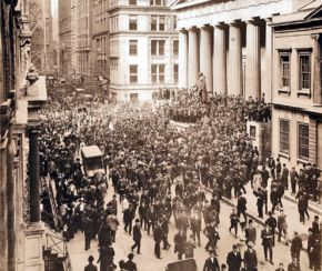 The Panic of 1907 – also known as the 1907 Bankers' Panic or Knickerbocker Crisis -  was a United States financial crisis that took place over a three-week period starting in mid-October, when the New York Stock Exchange fell almost 50% from its peak the previous year. Panic occurred, as this was during a time of economic recession, and there were numerous runs on banks and trust companies.