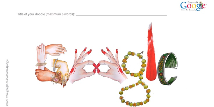 The G is made of hands of bride, a brother wearing a rakhi, clasping each other providing support. The vermillion alta smeared hands make the Os. A marigold garland, and tilak - a part of all festivities.