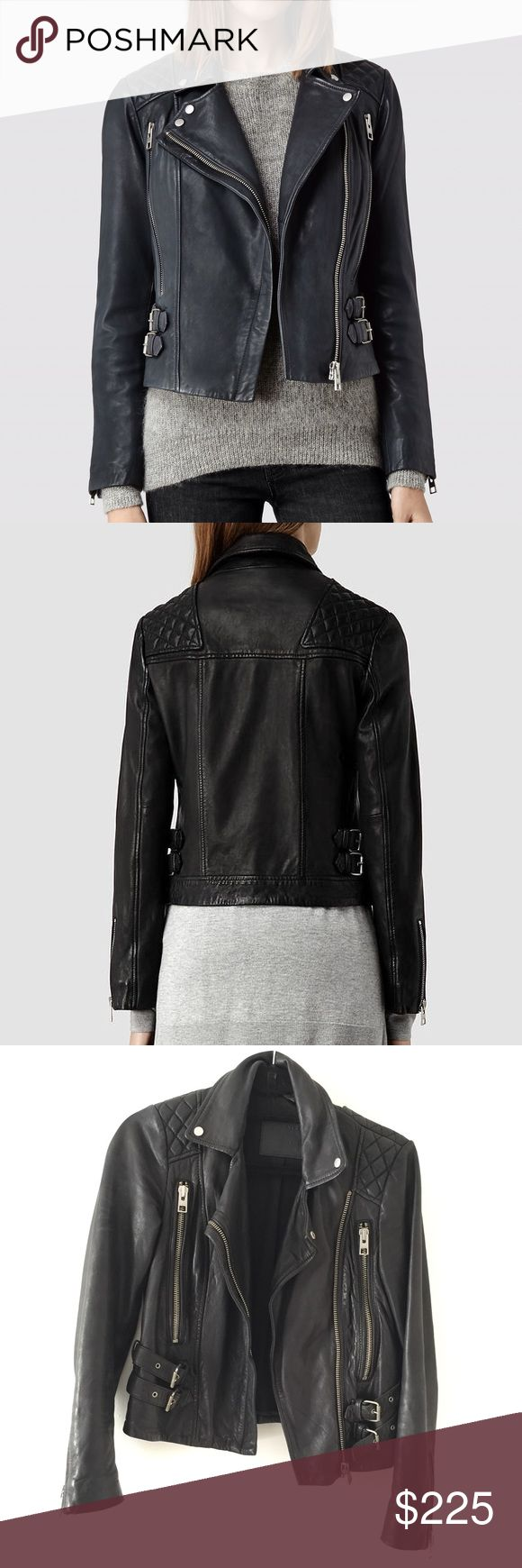 All Saints Hawk Rider Leather Jacket All Saints Hawk Rider leather jacket, size 0, black. Worn and broken in. Genuinely soft leather, heavy. Final sale, no trades. All Saints Jackets & Coats