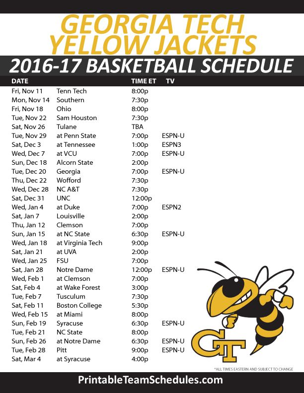 Georgia Tech Yellow Jackets Basketball Schedule 2016-17. Print Here - http://printableteamschedules.com/NCAA/georgiatechyellowjacketsbasketball.php