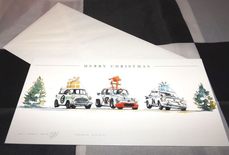 MINI COOPER - ABARTH 500 & NSU TT NEW ART PRINT CHRISTMAS GREETINGS GIFT CARD