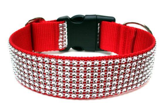 "Red Dog Collar 1.5"" Rhinestone Dog Collar"