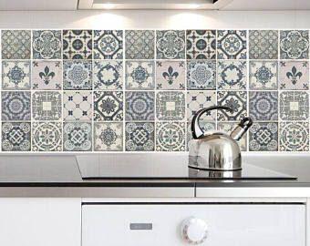 traditionele blauwe spaanse keramische tegels sticker blauwe en witte backsplash tijdelijke muur stickers verwisselbare - Tijdelijke Backsplash