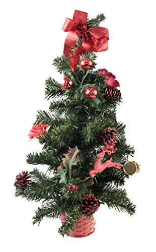 Small Artificial Christmas Tree Decorated with Red Ornaments  24 Tall * This is an Amazon Affiliate link. Find out more about the great product at the image link.