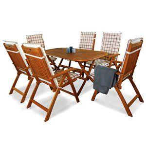 Indoba® Ind 7pièces + Ind-auhl 70409–Série Bangor–Salon de jardin 13pièces en bois certifié FSC–6chaises pliantes jardin + table…