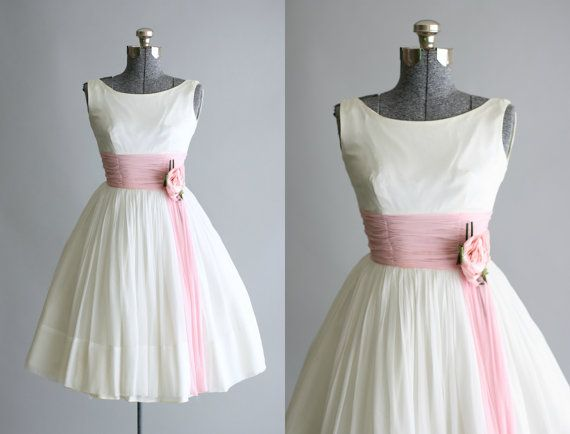Vintage 1950s Dress / 50s Prom Dress / White Party Dress w/ Light Pink Ruching XS