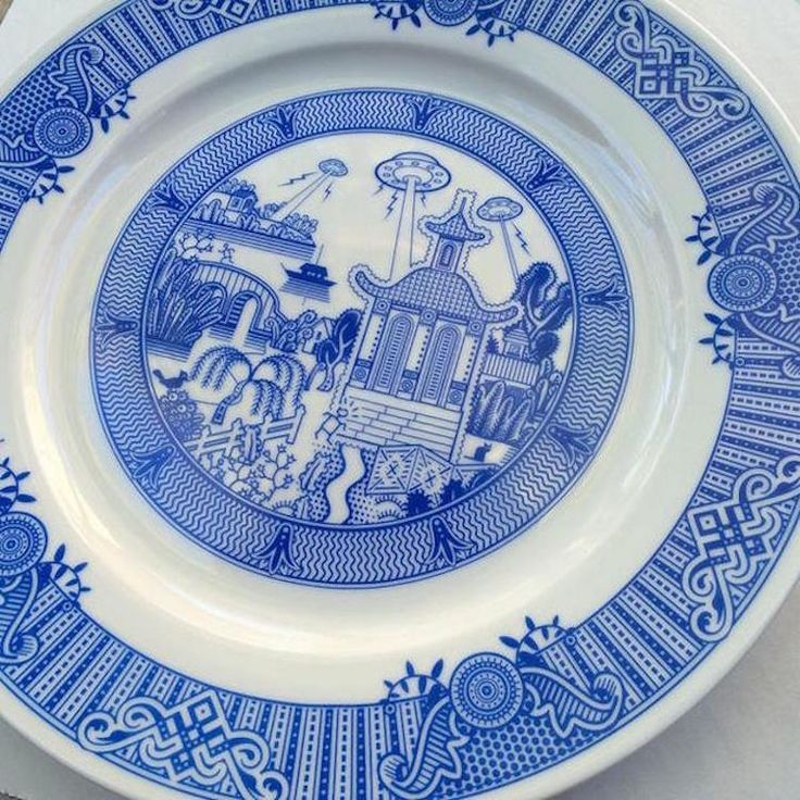 Cleverly and comically named Calamityware,Don Moyer's series of plates puts a modern spin on the ceramic craft. Featuring blue and white ornamentation inspired by Chinese pottery, the plates, at first glance, do not suggest anything out of the ordinary. Upon closer inspection, however, one will notice the subtle presence of silly, Sci-fi-inspired details.