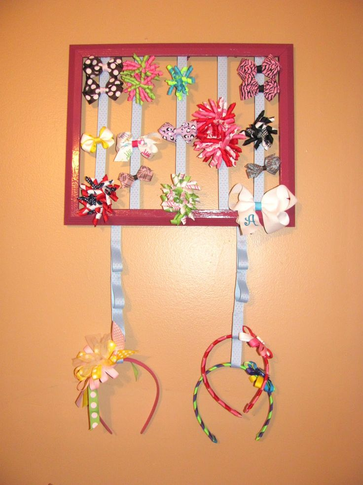 Hair bow organizer DIY: loops in hanging ribbon  to hold stiff headbands