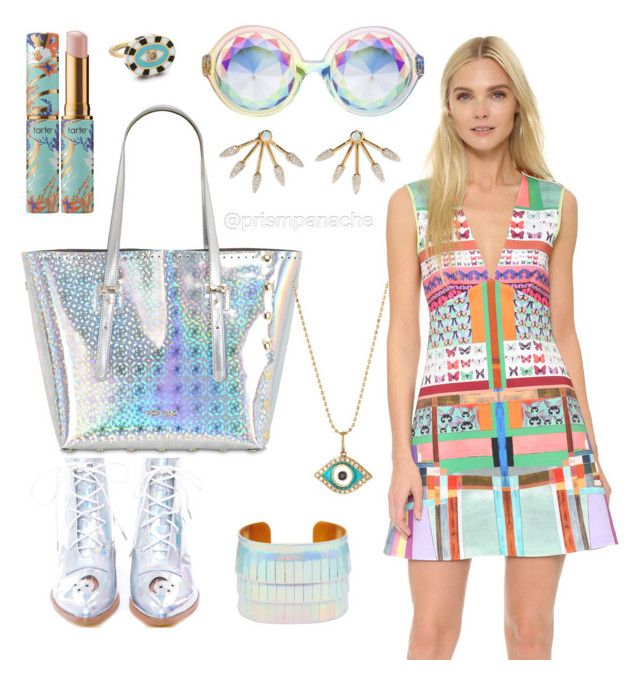Coachella Chromatic Craze  #CloverCanyon Butterfly Kaleidoscope Dress from #Shopbop // #Tarte Rainforest of the Sea Quench Lip Rescue in Opal // #HollyDyment Enamel #EvilEye Ring // #H0les Prism Eyewear Classic Rainbow #Iridescent Sunglasses // #PamelaLove '5 Spike' Diamond #Opal 18k Gold Fan Earrings // Pop Bag By J&C Women Medi Leather Tote #HolographicBag // #SydneyEvan 14k Diamond Evil Eye Pendant Necklace // Y.R.U Aura Boot from #Dollskill // Nali #Holographic Fringe Cuff from #Asos…