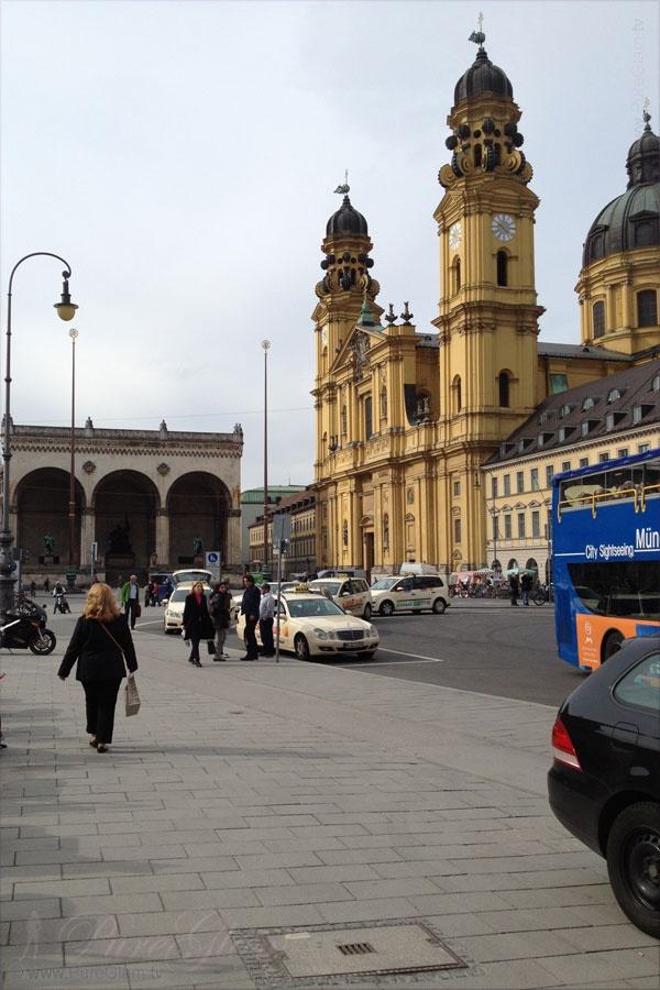 Theatiner Church/Kirche at Odeonsplatz - Feldherrnhalle on the left - Munich/ München, Germany/Deutschland