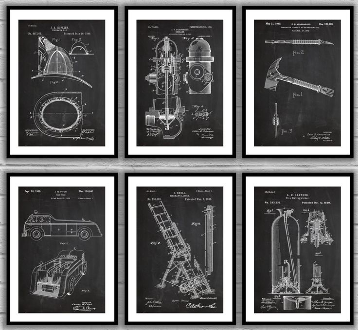 Firefighter Patent Set of 6, Firefighter Poster, Firefighter Art, Firefighter…