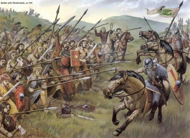 A Pictish 'schiltron' repels Romano-British cavalry from the Kingdom of Strathclyde 744 AD.