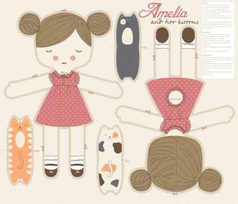 Amelia and her kittens fabric by stacyiesthsu on Spoonflower - custom fabric