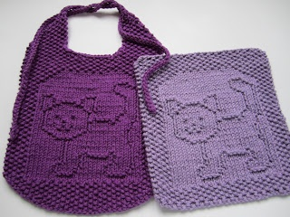 Down Cloverlaine: Purrfect bib & washcloth patterns