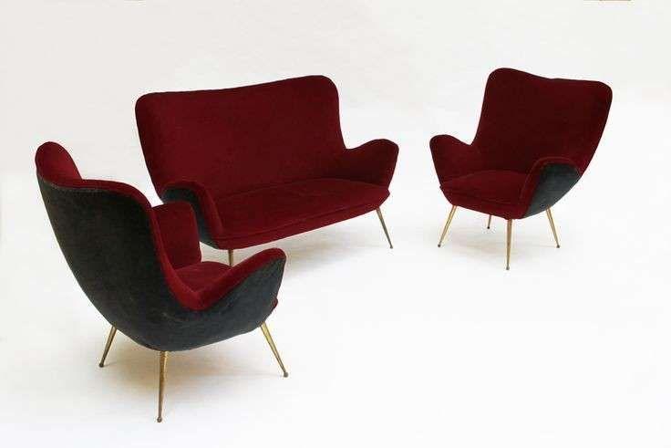 Poltrone anni '50 - Divano e poltrone burgundy