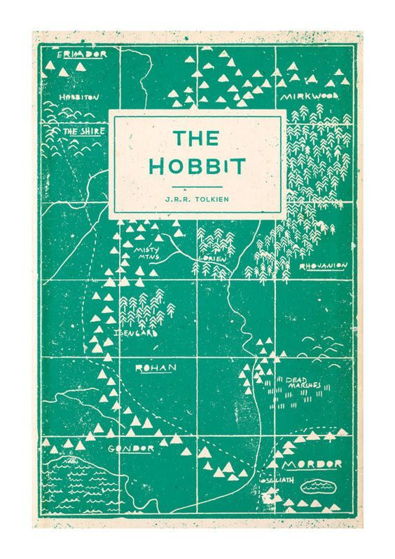 The Hobbit - Book Cover Illustration Art Print - A4:
