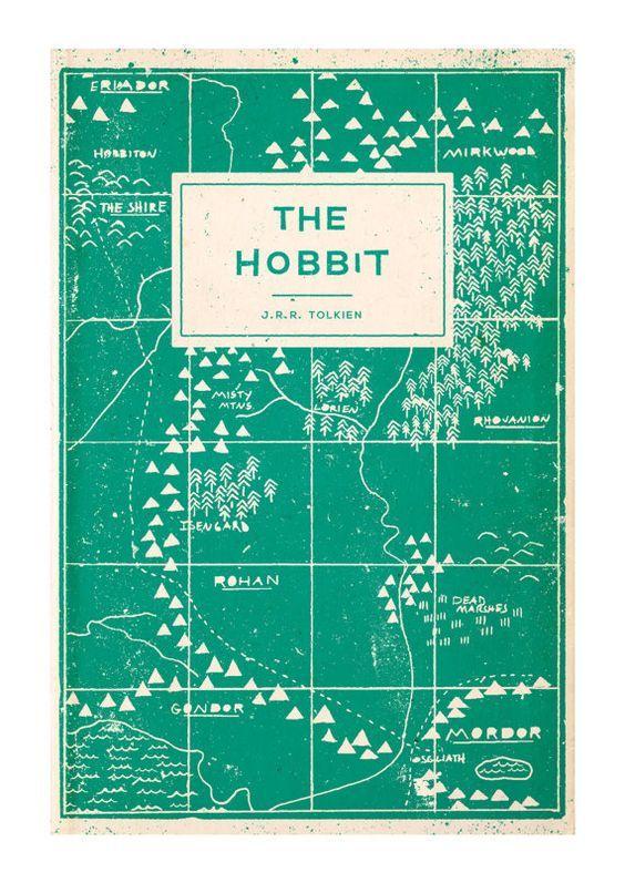 The Hobbit - Book Cover Illustration Art Print - A4: