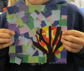Mosaic Trees ...warm and cool colours