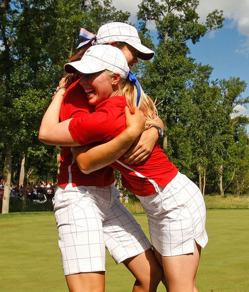 Morgan Pressel Morgan Pressel is greeted on the 16th green by Michelle Wie after Pressel clinched the Solheim Cup for the U.S. Team during the Sunday singles matches at the 2009 Solheim Cup at Rich Harvest Farms on August 23, 2009 in Sugar Grove, Illinois. #SC13 #GoUSA
