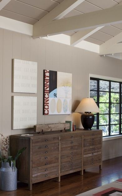 painted wood paneling @Jenni Juntunen knaup. I think this is an awesome color