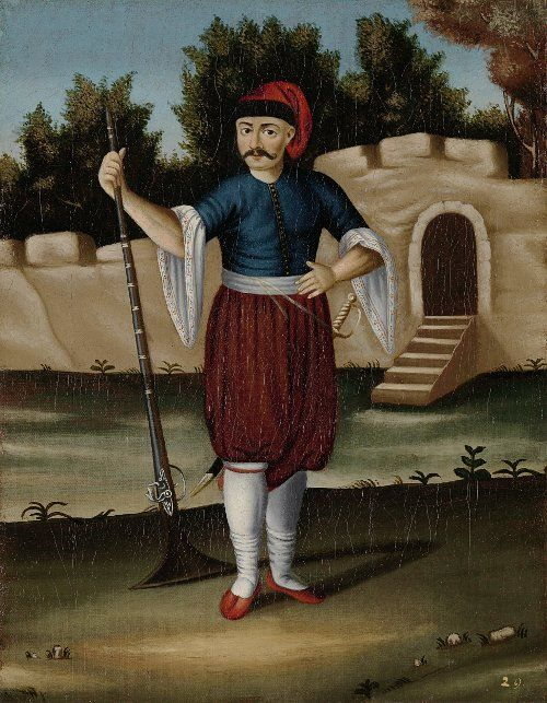 Albanian Soldier, Arnaut. Ottoman Illustrations from: Paintings by Jean-Baptiste Vanmour (Van Mour), 1671-1737