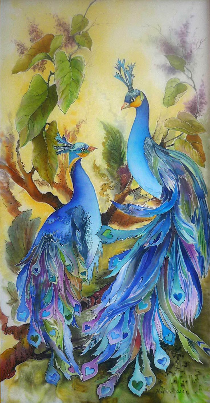 Art farm animal watercolor painting on canvas art 8x10 artsyhome - Beautiful Peacocks With Hearts Art Painting