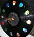 DIY wall clock with guitar picks to mark each hour!!