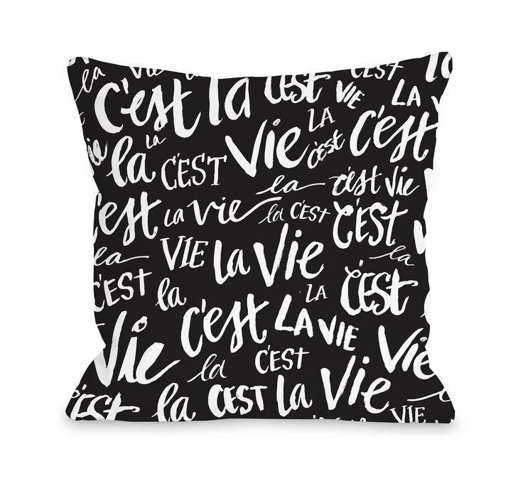 C'est La Vie Fleece Throw Pillow