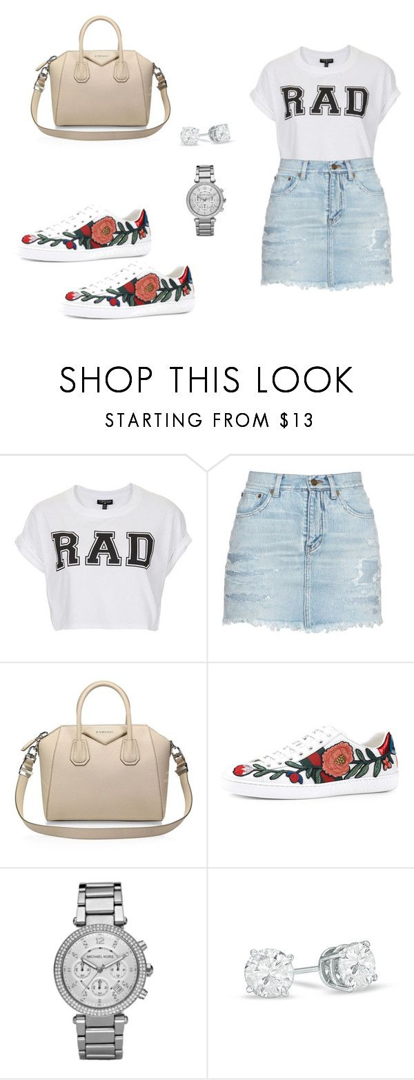 """520 outfit"" by julieannbb13 ❤ liked on Polyvore featuring Topshop, Yves Saint Laurent, Givenchy, Gucci and Michael Kors"