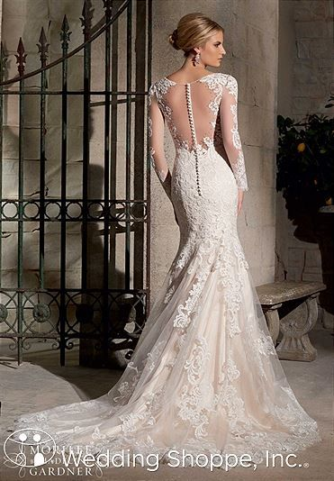 Delicate lace wedding dress with long sleeves. Mori Lee Bridal Gown 2725