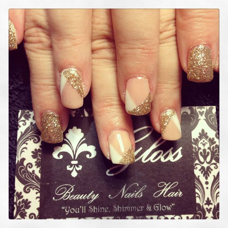 Peach, white and Gold Nails x