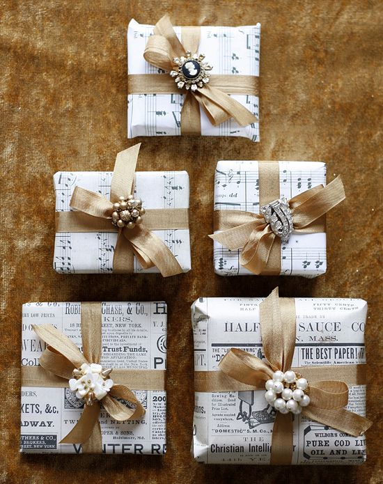 Sheet Music Wrapped Gifts with brooches winter wedding diy thrifty bride ideas boho chic gold silver Christmas