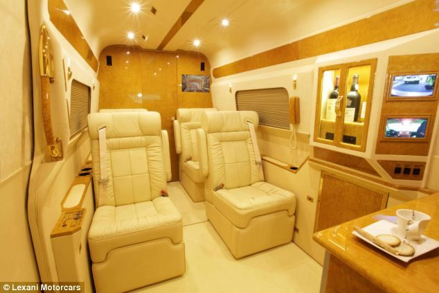 Travel in style: The armoured Mercedes-Benz B6 Sprinter has handcrafted fine leather seats and a galley kitchen