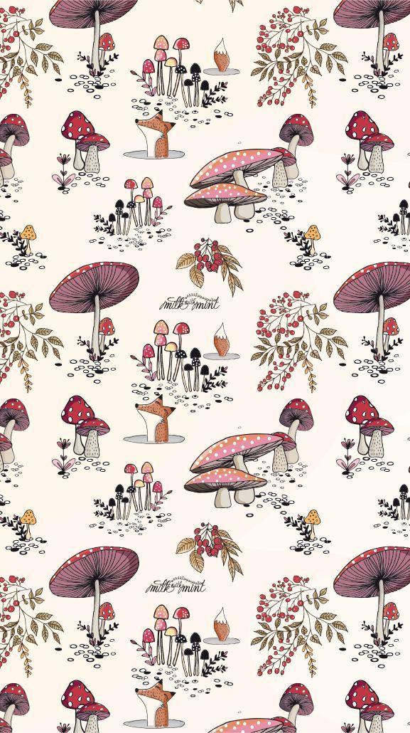 Toadstool Pattern Mushroom Wallpaper Fall Wallpaper Iphone Background Wallpaper