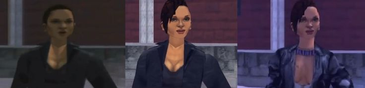 On the left is Catalina from the original release version of Grand Theft Auto III. The middle Catalina is the later release versions of GTA 3. The one on the right is Catalina in the Xbox version, where she wears a revealing pink tank top #sexualizedvillainness #sexism #gaming
